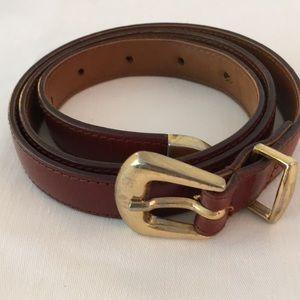 "Echo Brown Leather Belt, 34"""